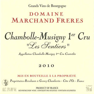 Chambolle Musigny 1er Cru Les Sentiers - Domaine Marchand Frères Gevrey Chambertin