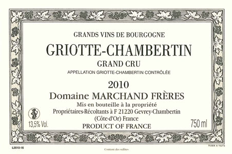 Griotte Chambertin - Domaine Marchand Frères Gevrey Chambertin Grand Cru